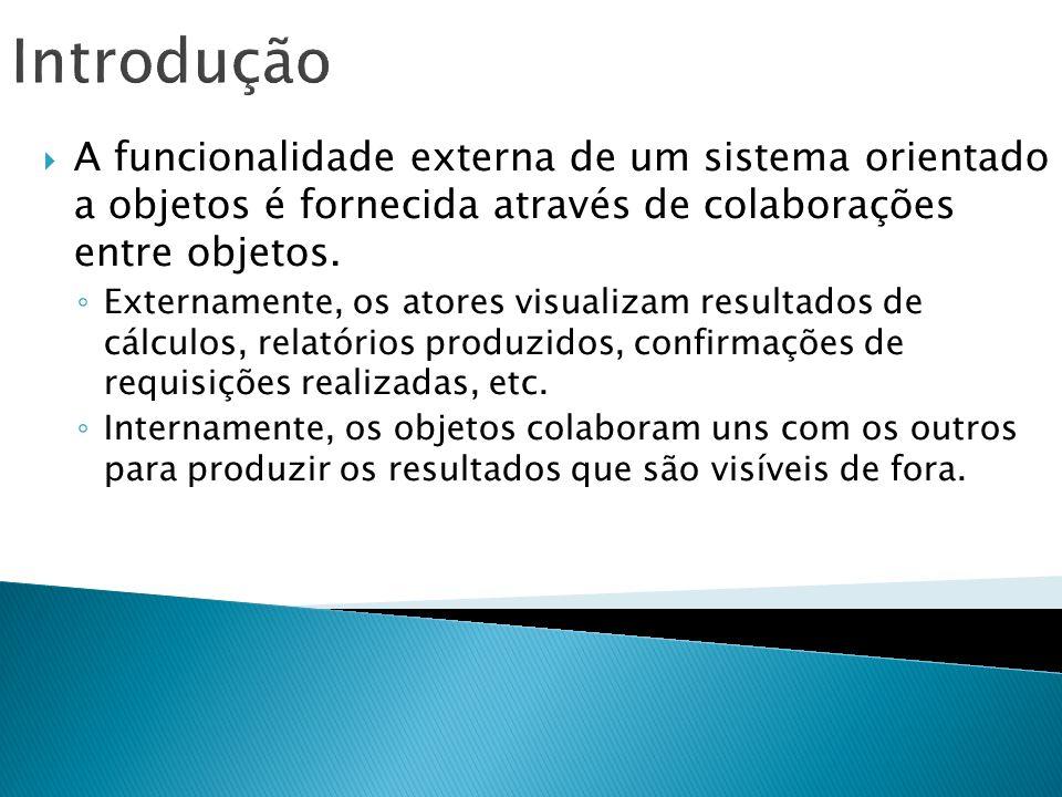 Introdução A funcionalidade externa de um sistema orientado a objetos é fornecida através de colaborações entre objetos. Externamente, os atores visua