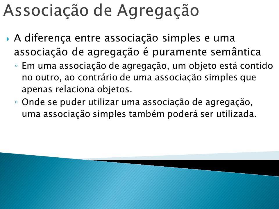 Associação de Agregação A diferença entre associação simples e uma associação de agregação é puramente semântica Em uma associação de agregação, um ob