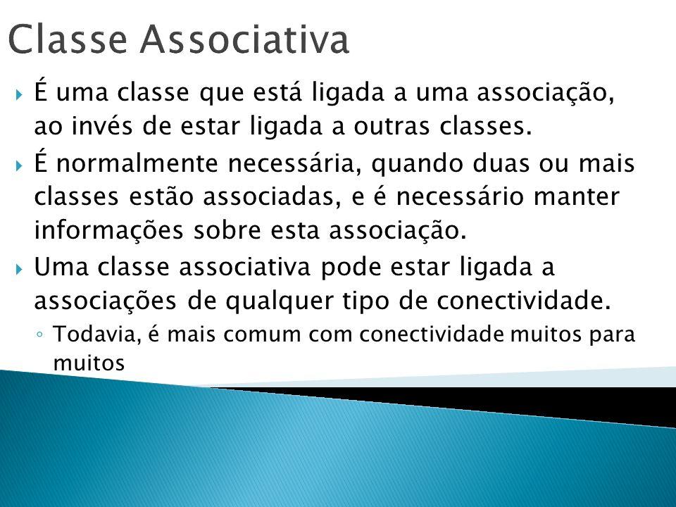Classe Associativa É uma classe que está ligada a uma associação, ao invés de estar ligada a outras classes. É normalmente necessária, quando duas ou