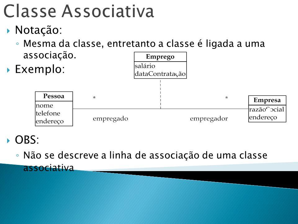 Notação: Mesma da classe, entretanto a classe é ligada a uma associação. Exemplo: OBS: Não se descreve a linha de associação de uma classe associativa