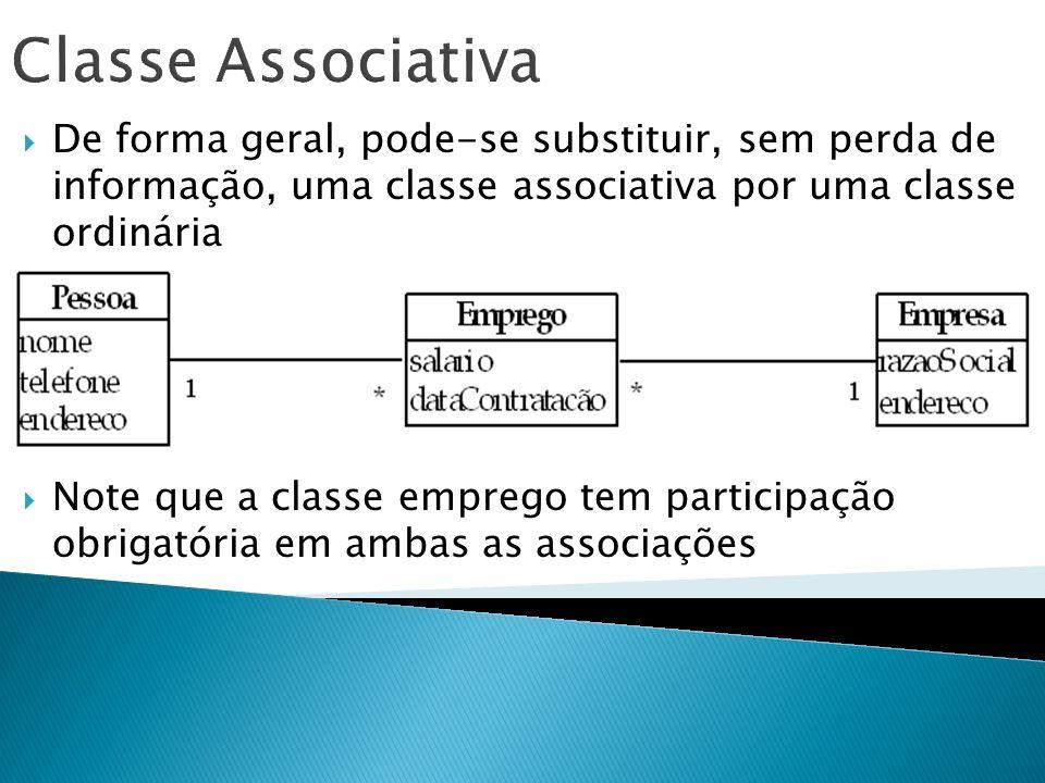 De forma geral, pode-se substituir, sem perda de informação, uma classe associativa por uma classe ordinária Note que a classe emprego tem participaçã