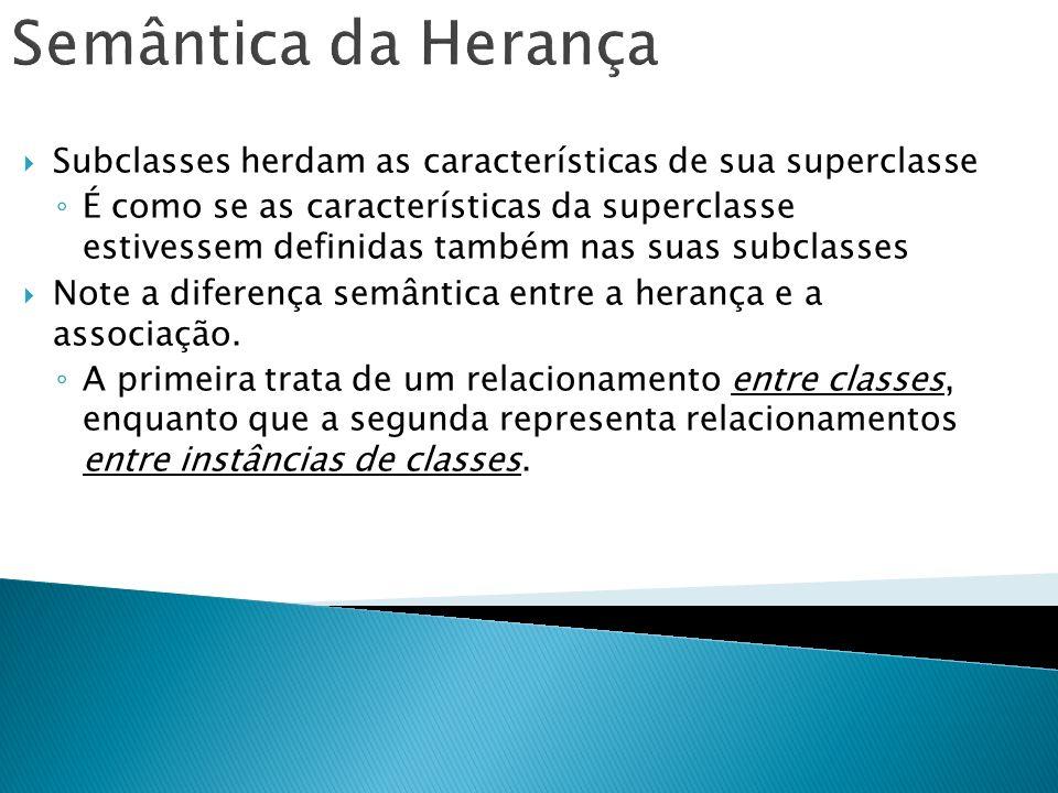 Semântica da Herança Subclasses herdam as características de sua superclasse É como se as características da superclasse estivessem definidas também n