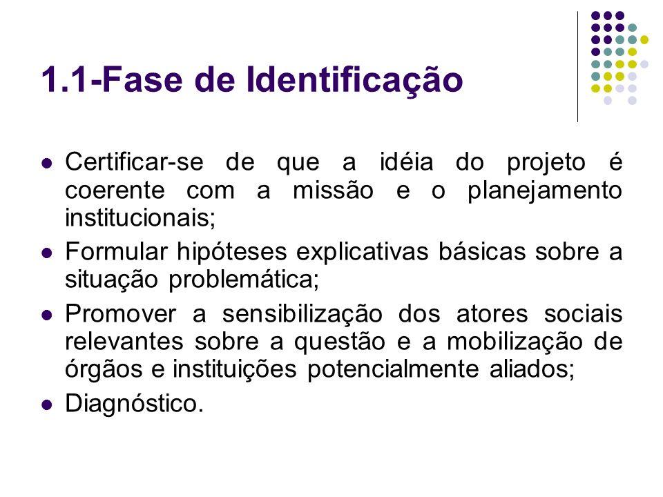 1.1-Fase de Identificação Certificar-se de que a idéia do projeto é coerente com a missão e o planejamento institucionais; Formular hipóteses explicat