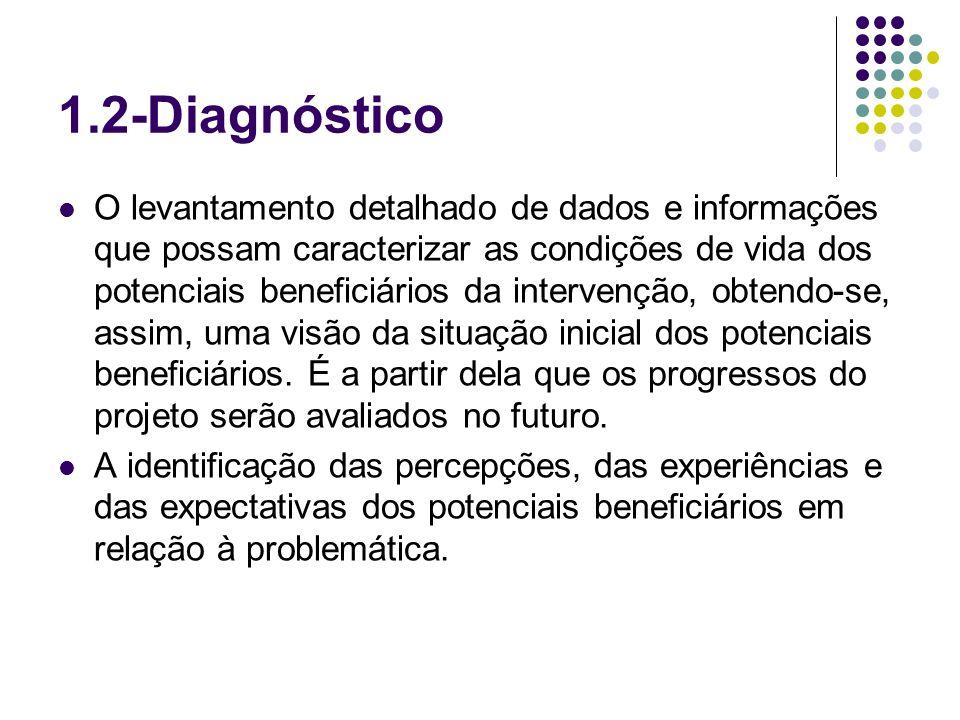 1.2-Diagnóstico O levantamento detalhado de dados e informações que possam caracterizar as condições de vida dos potenciais beneficiários da intervenç