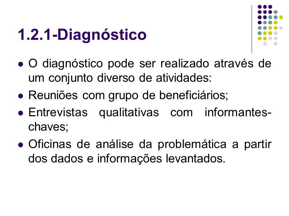 1.2.1-Diagnóstico O diagnóstico pode ser realizado através de um conjunto diverso de atividades: Reuniões com grupo de beneficiários; Entrevistas qual