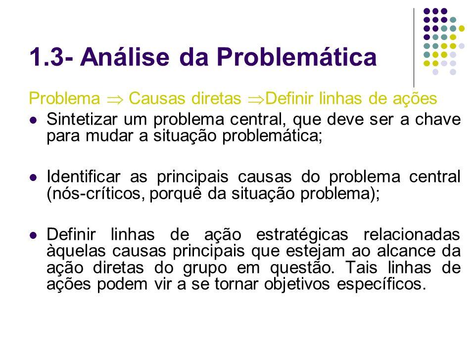 1.3- Análise da Problemática Problema Causas diretas Definir linhas de ações Sintetizar um problema central, que deve ser a chave para mudar a situaçã