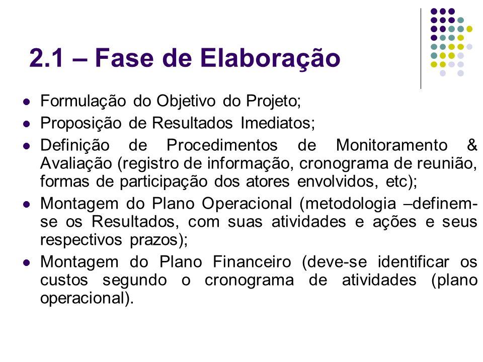 2.1 – Fase de Elaboração Formulação do Objetivo do Projeto; Proposição de Resultados Imediatos; Definição de Procedimentos de Monitoramento & Avaliaçã