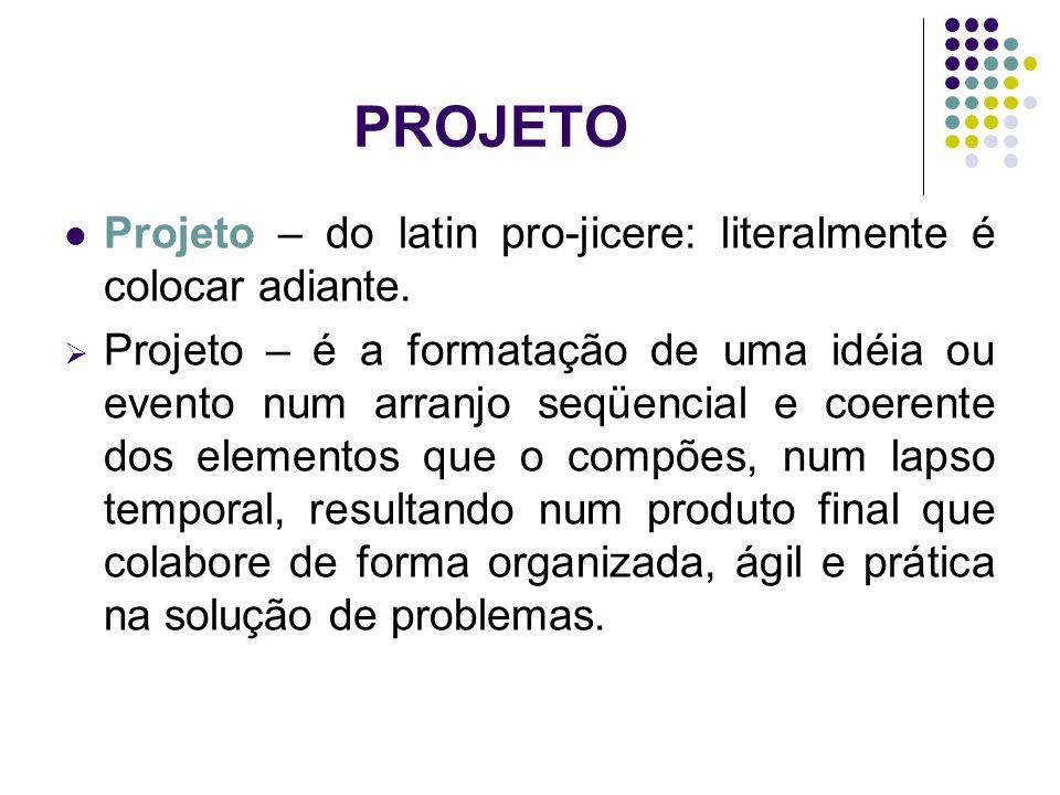 PROJETO Projeto – do latin pro-jicere: literalmente é colocar adiante. Projeto – é a formatação de uma idéia ou evento num arranjo seqüencial e coeren