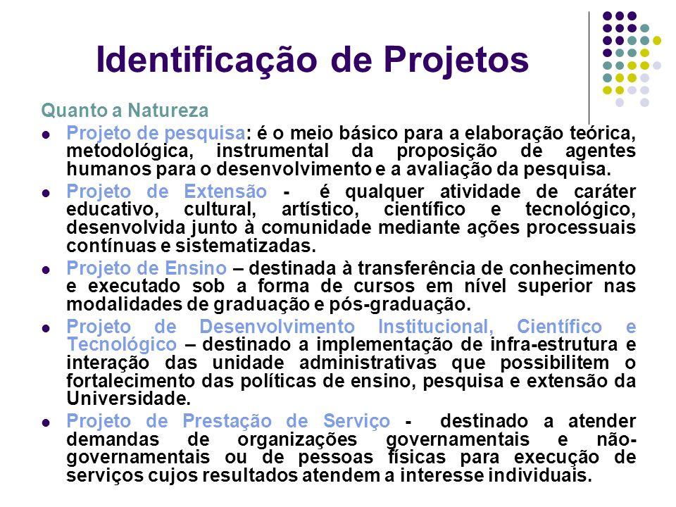 Identificação de Projetos Quanto a Natureza Projeto de pesquisa: é o meio básico para a elaboração teórica, metodológica, instrumental da proposição d