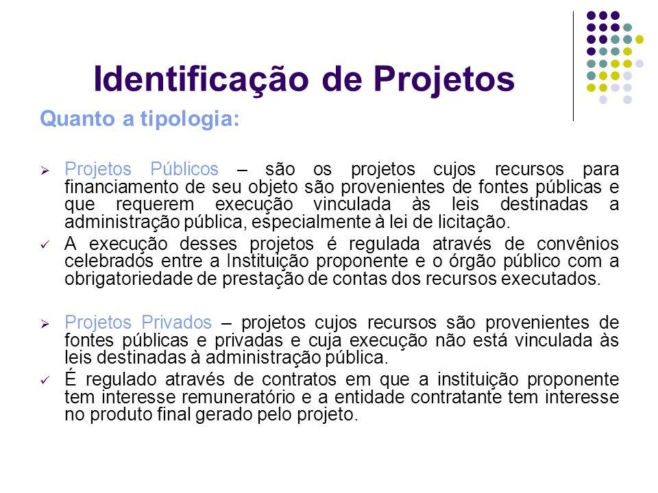 Identificação de Projetos Quanto a tipologia: Projetos Públicos – são os projetos cujos recursos para financiamento de seu objeto são provenientes de