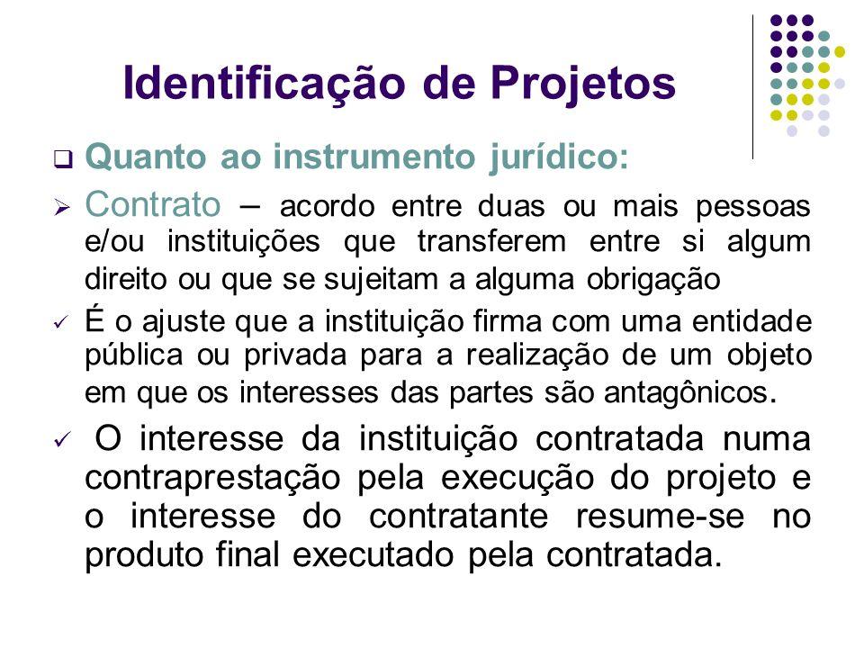 Identificação de Projetos Quanto ao instrumento jurídico: Contrato – acordo entre duas ou mais pessoas e/ou instituições que transferem entre si algum