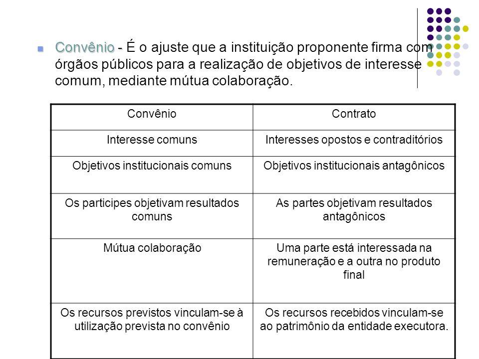 Convênio - Convênio - É o ajuste que a instituição proponente firma com órgãos públicos para a realização de objetivos de interesse comum, mediante mú