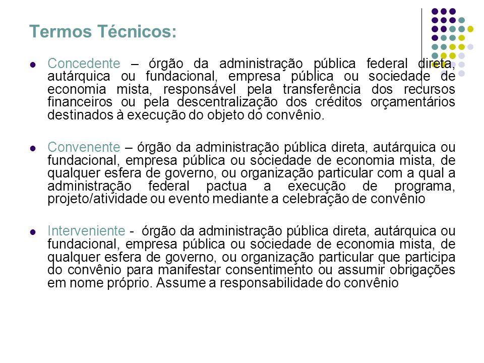 Termos Técnicos: Concedente – órgão da administração pública federal direta, autárquica ou fundacional, empresa pública ou sociedade de economia mista