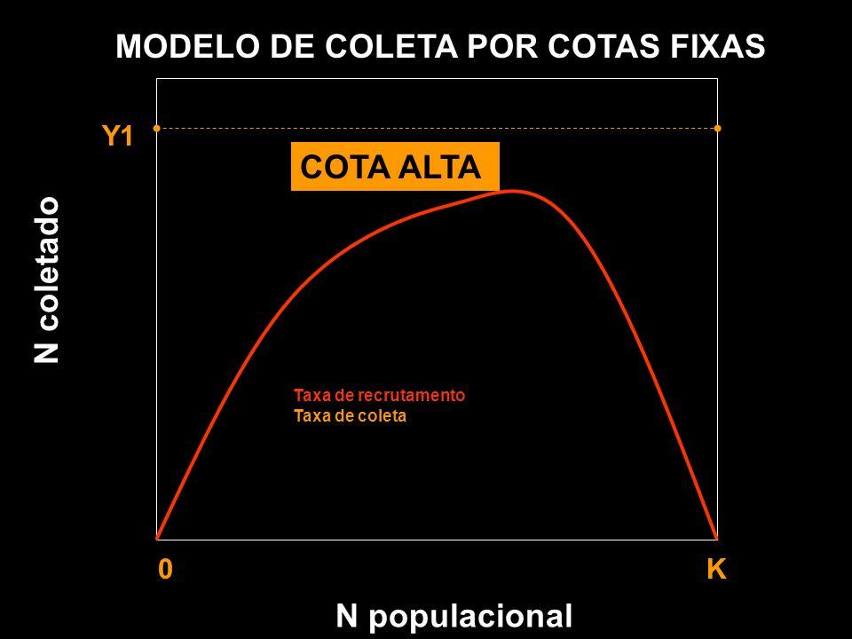 N populacional MODELO DE COLETA POR COTAS FIXAS Y1 0 K Taxa de recrutamento Taxa de coleta N coletado COTA ALTA