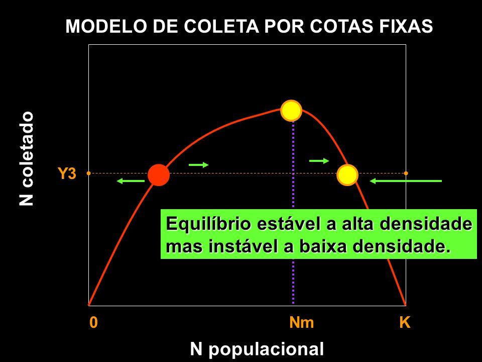 N populacional MODELO DE COLETA POR COTAS FIXAS Y1 Y2 Y3 0 Nm K Taxa de recrutamento Taxa de coleta N coletado Equilíbrio estável a alta densidade mas