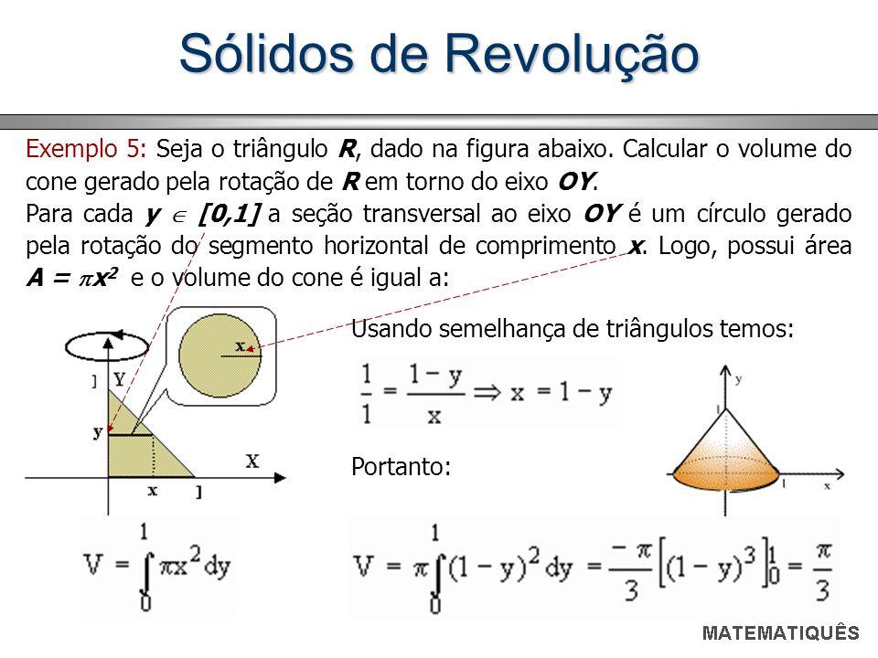 Sólidos de Revolução Exemplo 5: Seja o triângulo R, dado na figura abaixo. Calcular o volume do cone gerado pela rotação de R em torno do eixo OY. Par