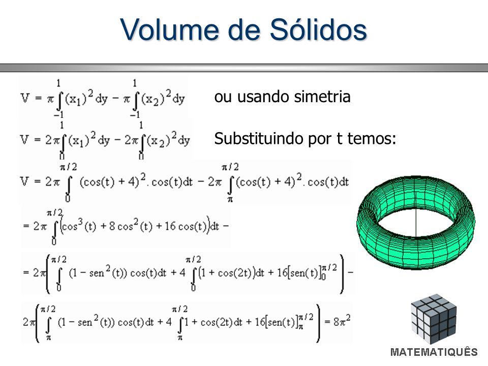Volume de Sólidos ou usando simetria Substituindo por t temos: