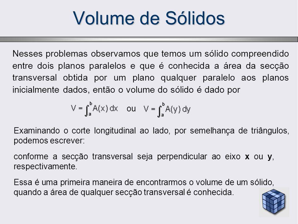 Nesses problemas observamos que temos um sólido compreendido entre dois planos paralelos e que é conhecida a área da secção transversal obtida por um