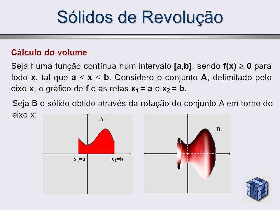 Cálculo do volume Seja f uma função contínua num intervalo [a,b], sendo f(x) 0 para todo x, tal que a x b. Considere o conjunto A, delimitado pelo eix