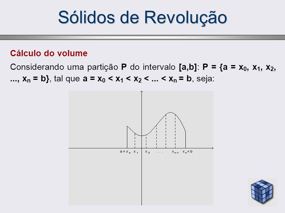 Sólidos de Revolução Cálculo do volume Considerando uma partição P do intervalo [a,b]: P = {a = x 0, x 1, x 2,..., x n = b}, tal que a = x 0 < x 1 < x