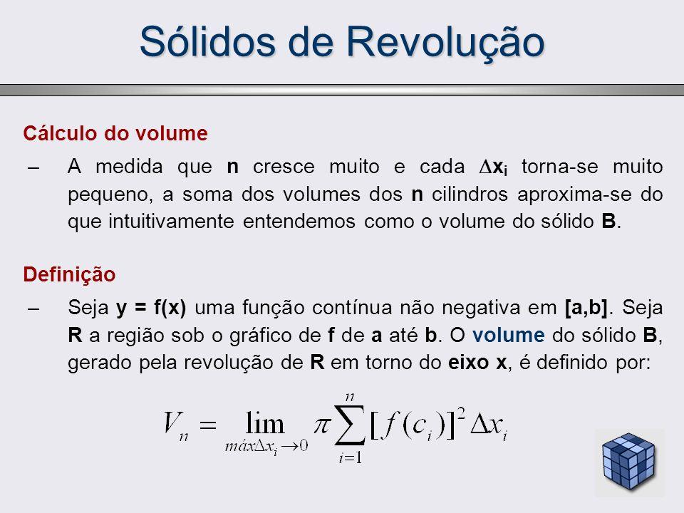 Sólidos de Revolução Cálculo do volume –A medida que n cresce muito e cada x i torna-se muito pequeno, a soma dos volumes dos n cilindros aproxima-se