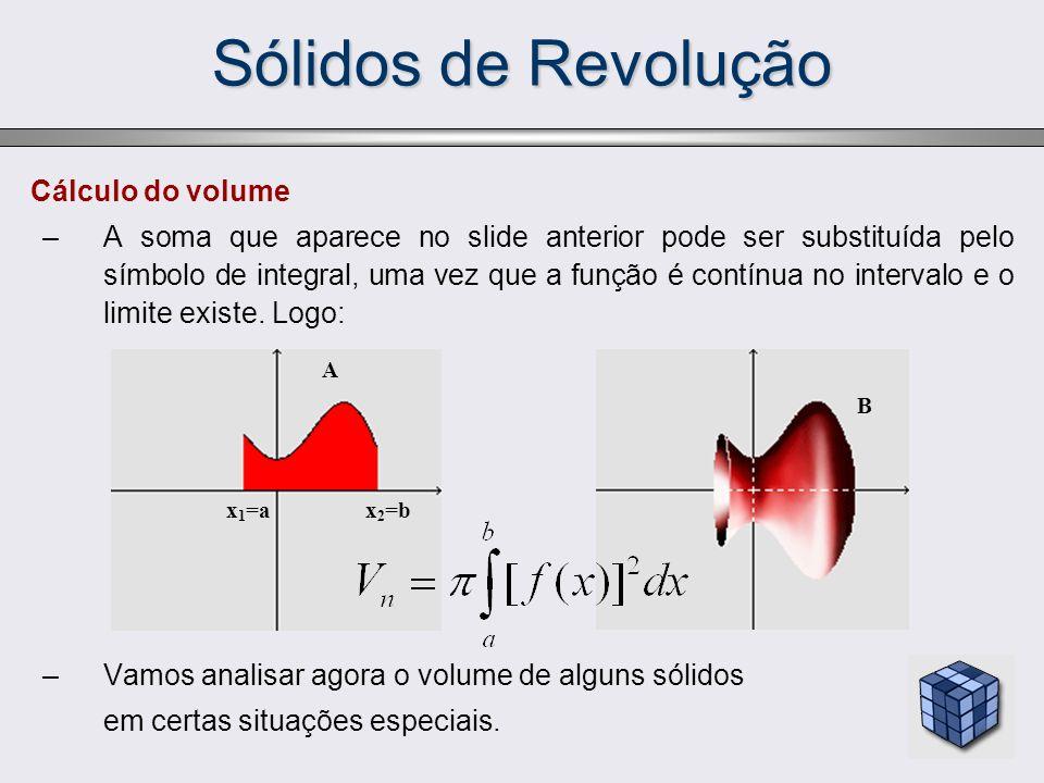 Sólidos de Revolução Cálculo do volume –A soma que aparece no slide anterior pode ser substituída pelo símbolo de integral, uma vez que a função é con