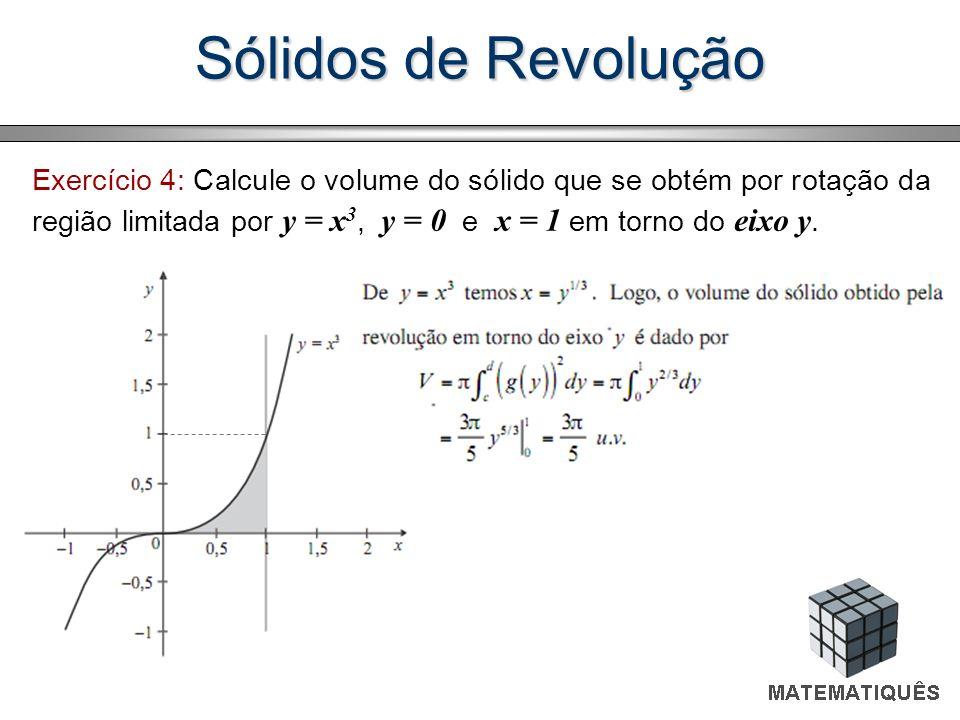 Exercício 4: Calcule o volume do sólido que se obtém por rotação da região limitada por y = x 3, y = 0 e x = 1 em torno do eixo y.