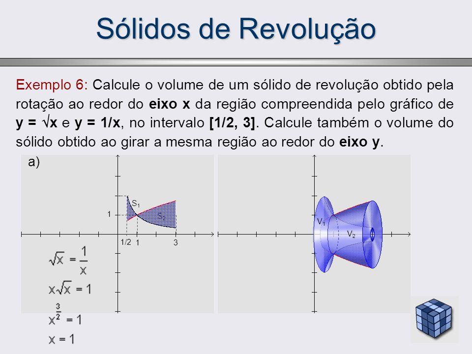Sólidos de Revolução Exemplo 6: Calcule o volume de um sólido de revolução obtido pela rotação ao redor do eixo x da região compreendida pelo gráfico