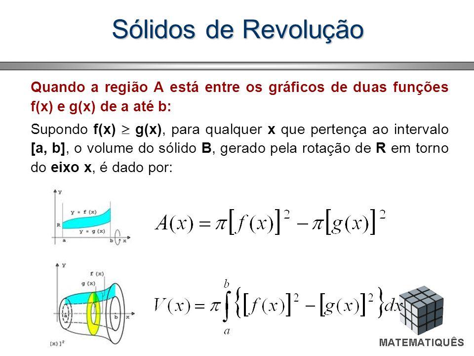 Sólidos de Revolução Quando a região A está entre os gráficos de duas funções f(x) e g(x) de a até b: Supondo f(x) g(x), para qualquer x que pertença