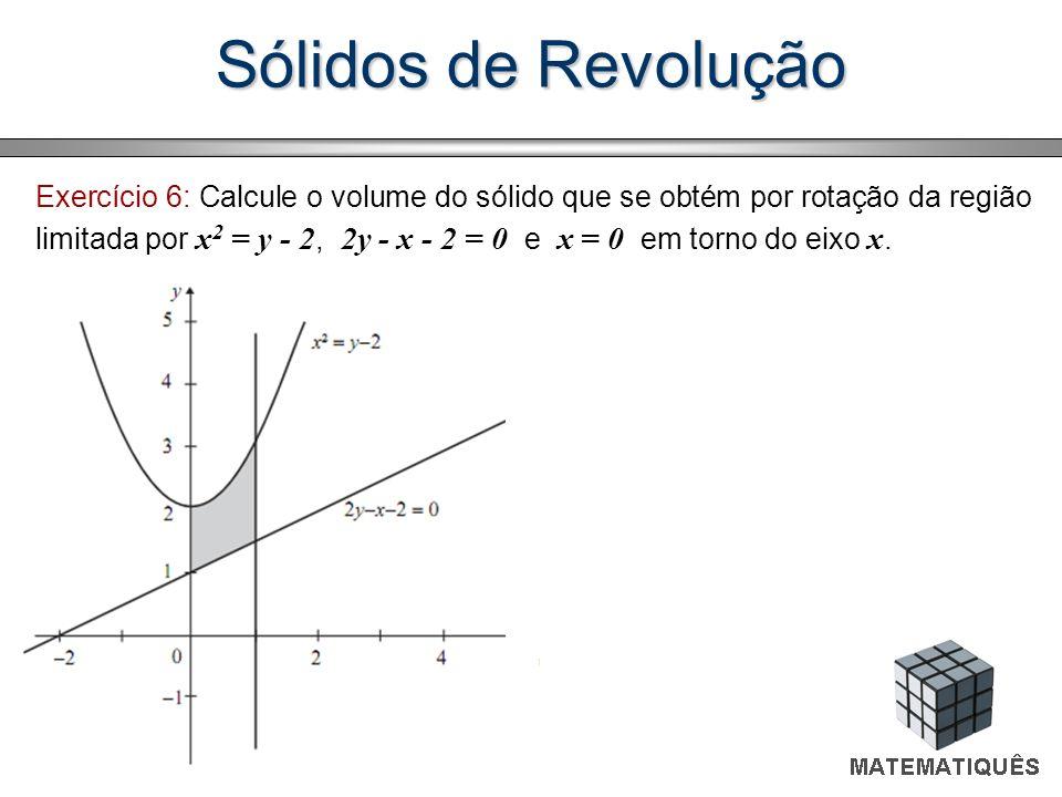 Exercício 6: Calcule o volume do sólido que se obtém por rotação da região limitada por x 2 = y - 2, 2y - x - 2 = 0 e x = 0 em torno do eixo x.