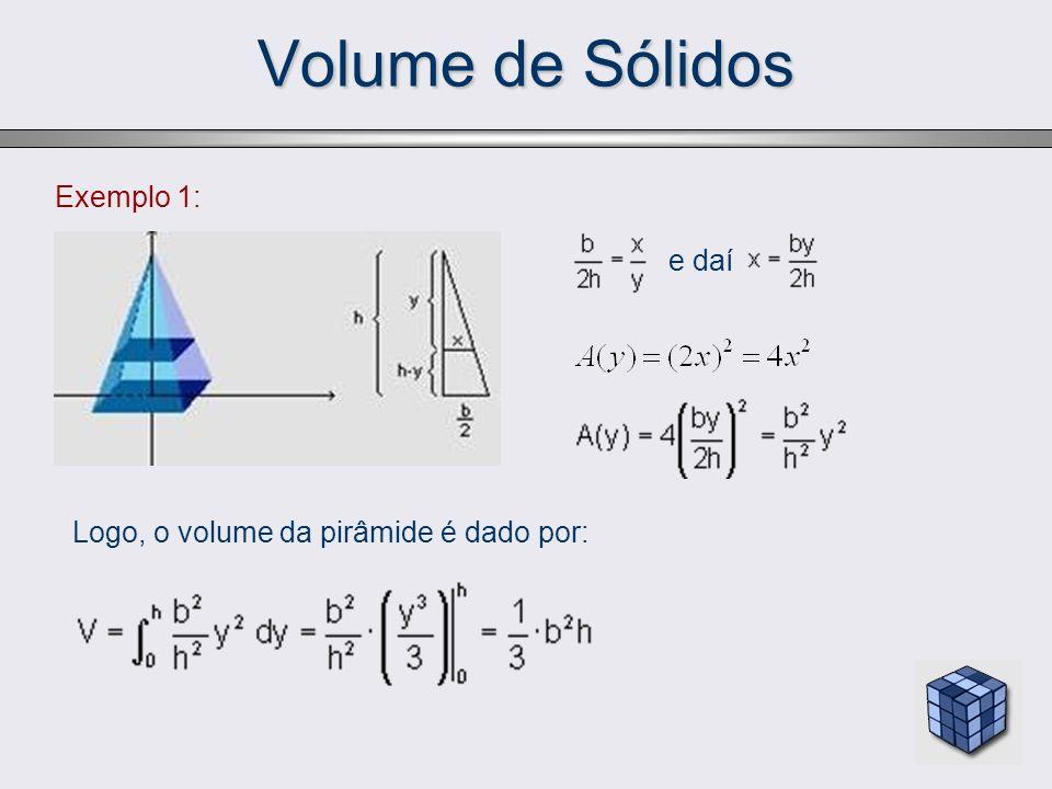 Sólidos de Revolução Cálculo do volume Considerando uma partição P do intervalo [a,b]: P = {a = x 0, x 1, x 2,..., x n = b}, tal que a = x 0 < x 1 < x 2 <...