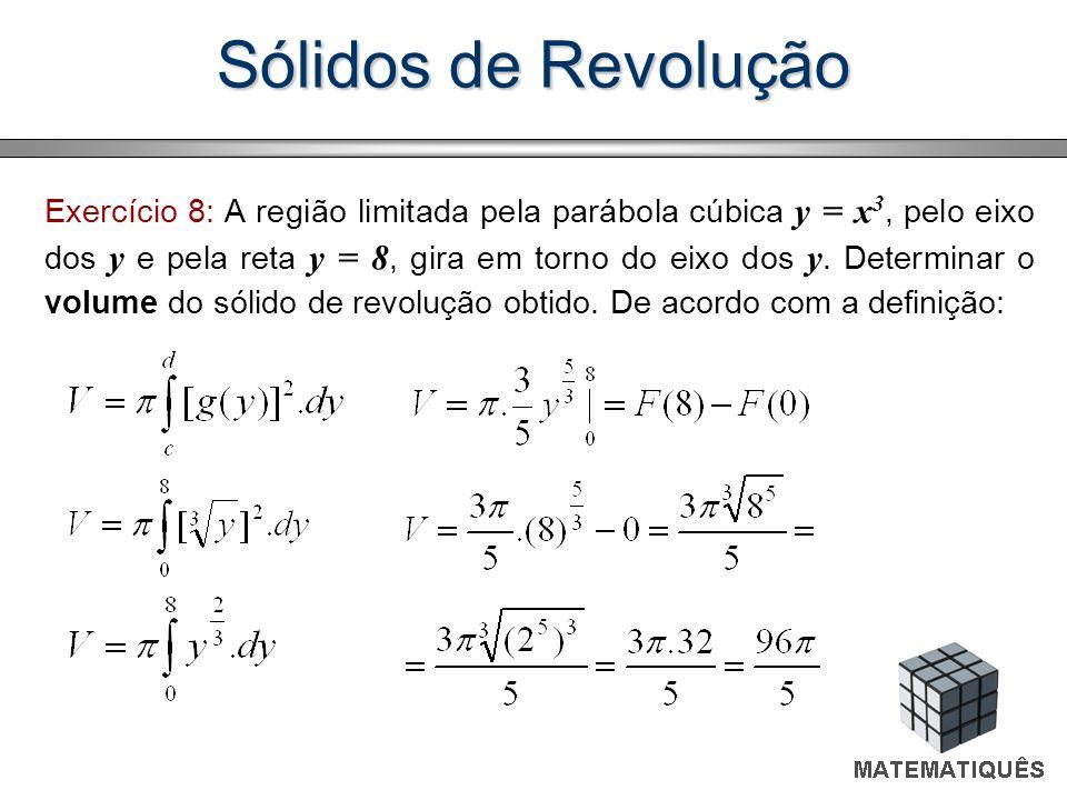 Exercício 8: A região limitada pela parábola cúbica y = x 3, pelo eixo dos y e pela reta y = 8, gira em torno do eixo dos y. Determinar o volume do só