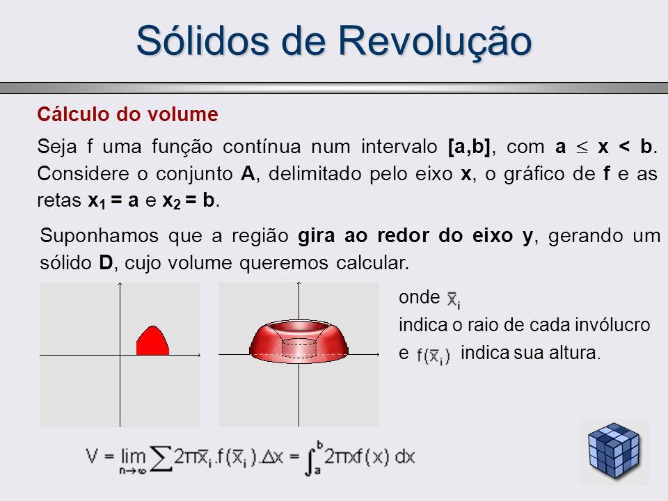 Sólidos de Revolução Cálculo do volume Seja f uma função contínua num intervalo [a,b], com a x < b. Considere o conjunto A, delimitado pelo eixo x, o