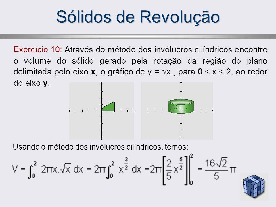 Sólidos de Revolução Exercício 10: Através do método dos invólucros cilíndricos encontre o volume do sólido gerado pela rotação da região do plano del