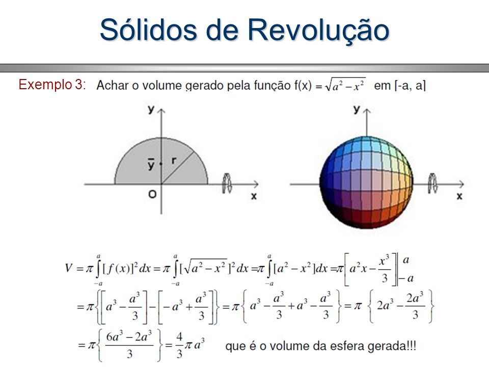 Sólidos de Revolução Logo, a seção transversal tem área A = (1- x 1 ) 2 - (1- x 2 ) 2 e o volume do sólido é igual a: Substituindo y em função de t nas integrais acima temos: