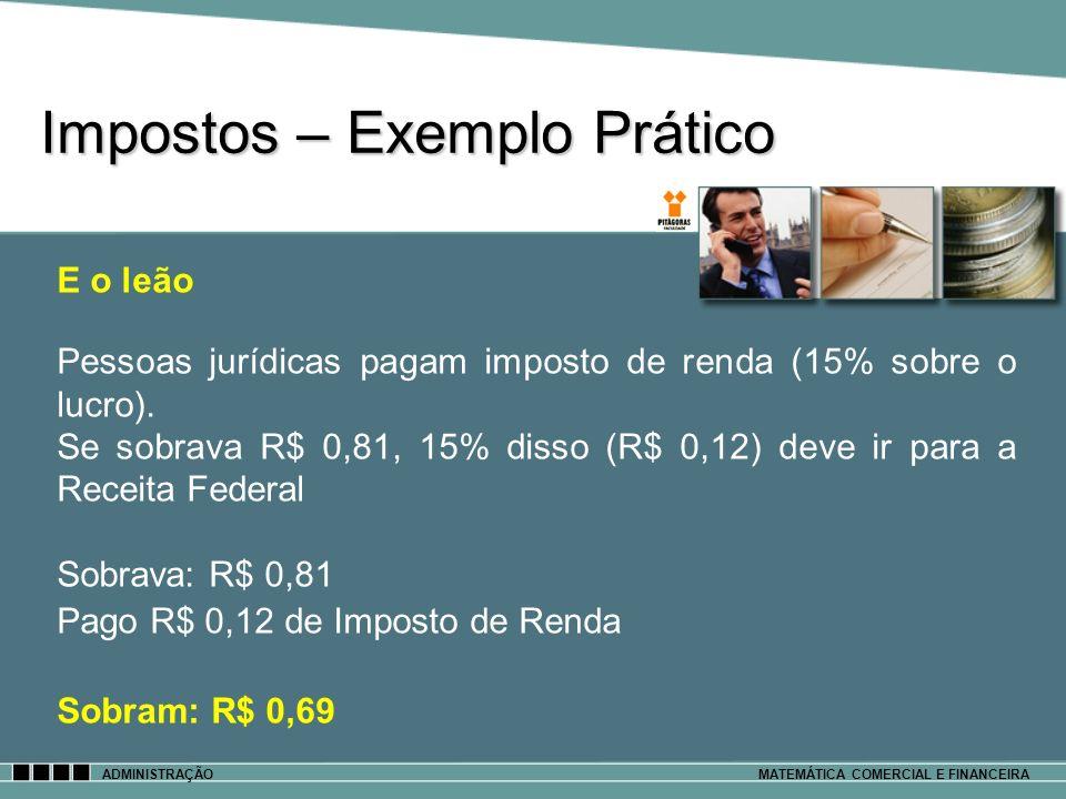 Impostos – Exemplo Prático ADMINISTRAÇÃOMATEMÁTICA COMERCIAL E FINANCEIRA E o leão Pessoas jurídicas pagam imposto de renda (15% sobre o lucro). Se so