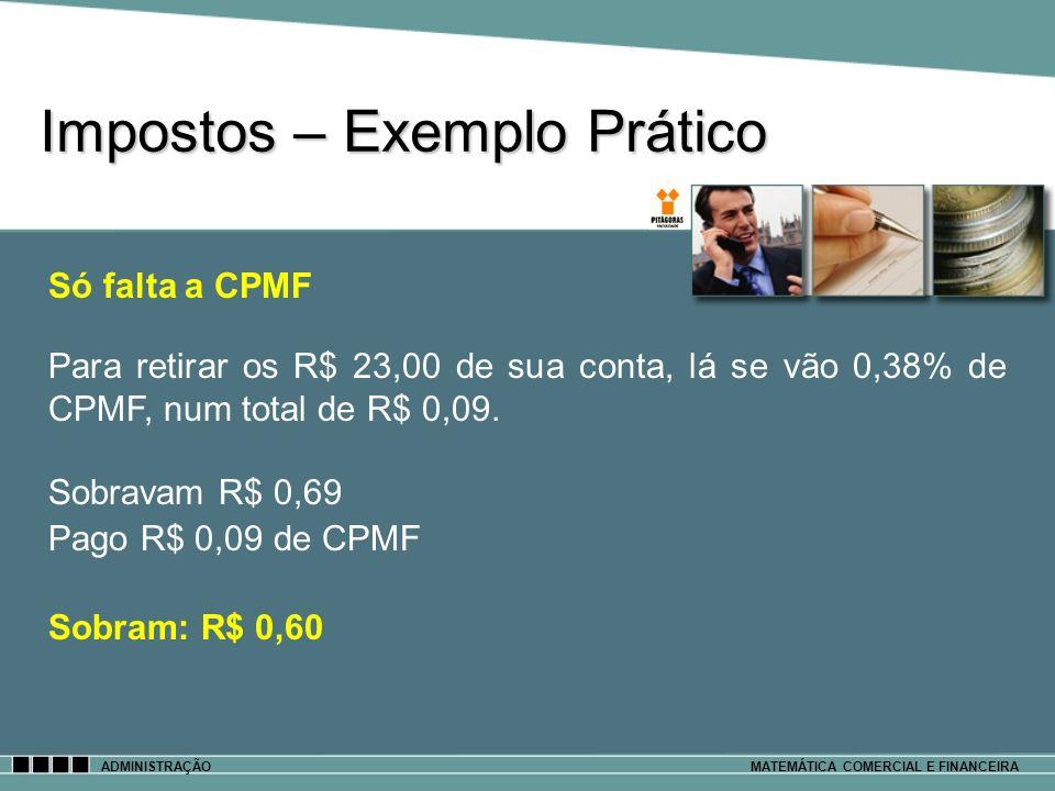Impostos – Exemplo Prático ADMINISTRAÇÃOMATEMÁTICA COMERCIAL E FINANCEIRA Só falta a CPMF Para retirar os R$ 23,00 de sua conta, lá se vão 0,38% de CP