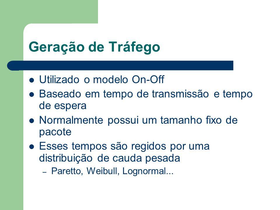 Geração de Tráfego Utilizado o modelo On-Off Baseado em tempo de transmissão e tempo de espera Normalmente possui um tamanho fixo de pacote Esses temp
