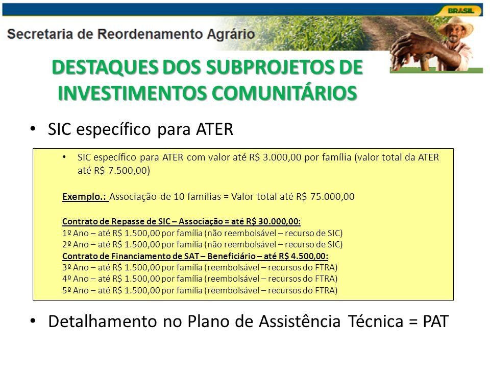 SIC específico para ATER Detalhamento no Plano de Assistência Técnica = PAT SIC específico para ATER com valor até R$ 3.000,00 por família (valor tota