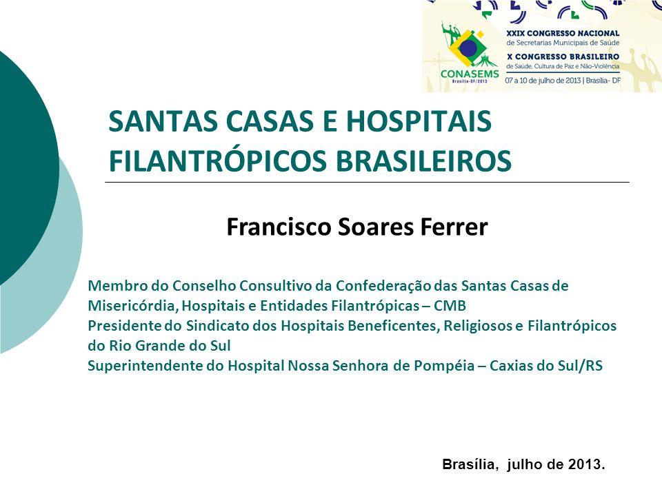 SANTAS CASAS E HOSPITAIS FILANTRÓPICOS BRASILEIROS Francisco Soares Ferrer Membro do Conselho Consultivo da Confederação das Santas Casas de Misericór