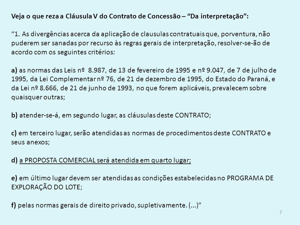 Veja o que reza a Cláusula V do Contrato de Concessão – Da interpretação: 1. As divergências acerca da aplicação de clausulas contratuais que, porvent