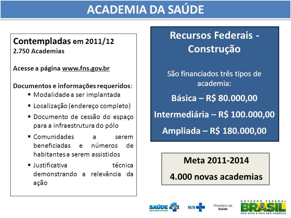 10 ACADEMIA DA SAÚDE Recursos Federais - Construção São financiados três tipos de academia: Básica – R$ 80.000,00 Intermediária – R$ 100.000,00 Amplia