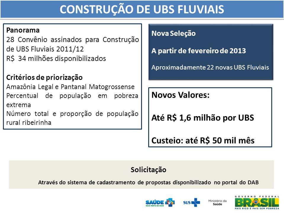 Panorama 28 Convênio assinados para Construção de UBS Fluviais 2011/12 R$ 34 milhões disponibilizados Critérios de priorização Amazônia Legal e Pantan
