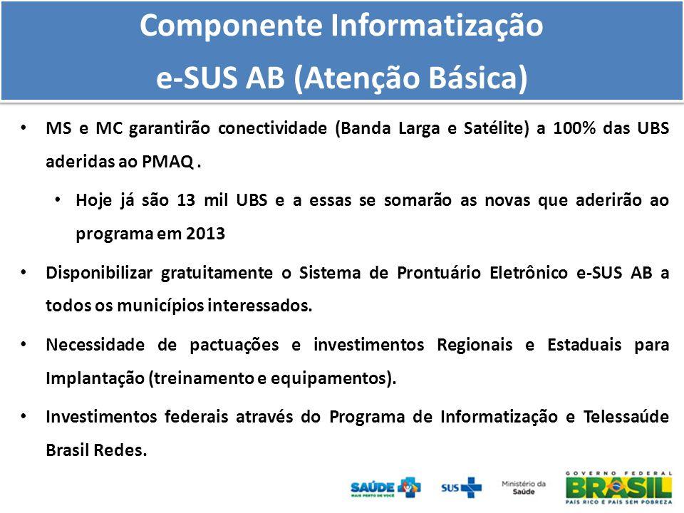 MS e MC garantirão conectividade (Banda Larga e Satélite) a 100% das UBS aderidas ao PMAQ. Hoje já são 13 mil UBS e a essas se somarão as novas que ad
