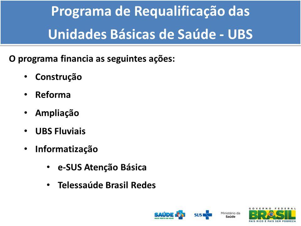 O programa financia as seguintes ações: Construção Reforma Ampliação UBS Fluviais Informatização e-SUS Atenção Básica Telessaúde Brasil Redes Programa