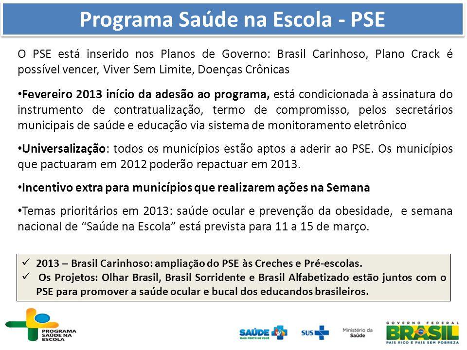 O PSE está inserido nos Planos de Governo: Brasil Carinhoso, Plano Crack é possível vencer, Viver Sem Limite, Doenças Crônicas Fevereiro 2013 início d