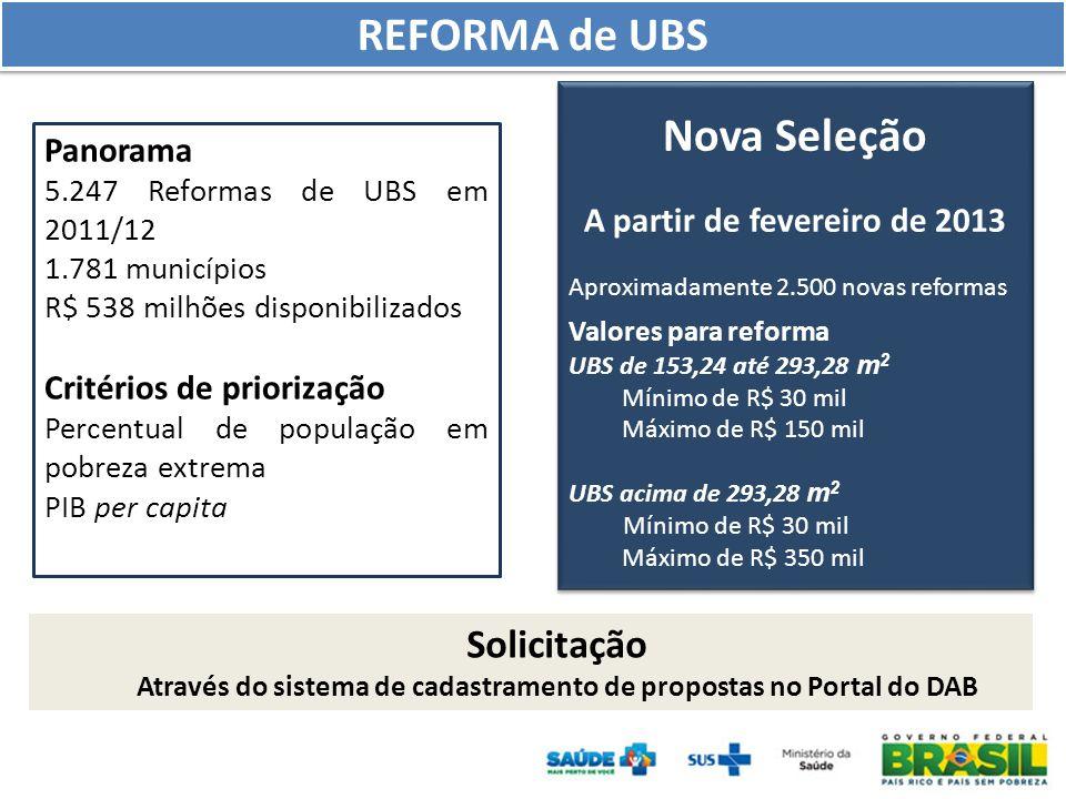 Panorama 5.247 Reformas de UBS em 2011/12 1.781 municípios R$ 538 milhões disponibilizados Critérios de priorização Percentual de população em pobreza