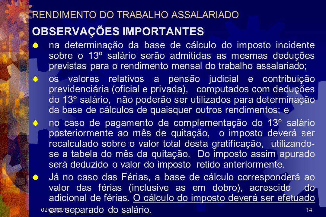 02/09/201114 RENDIMENTO DO TRABALHO ASSALARIADO OBSERVAÇÕES IMPORTANTES na determinação da base de cálculo do imposto incidente sobre o 13º salário se