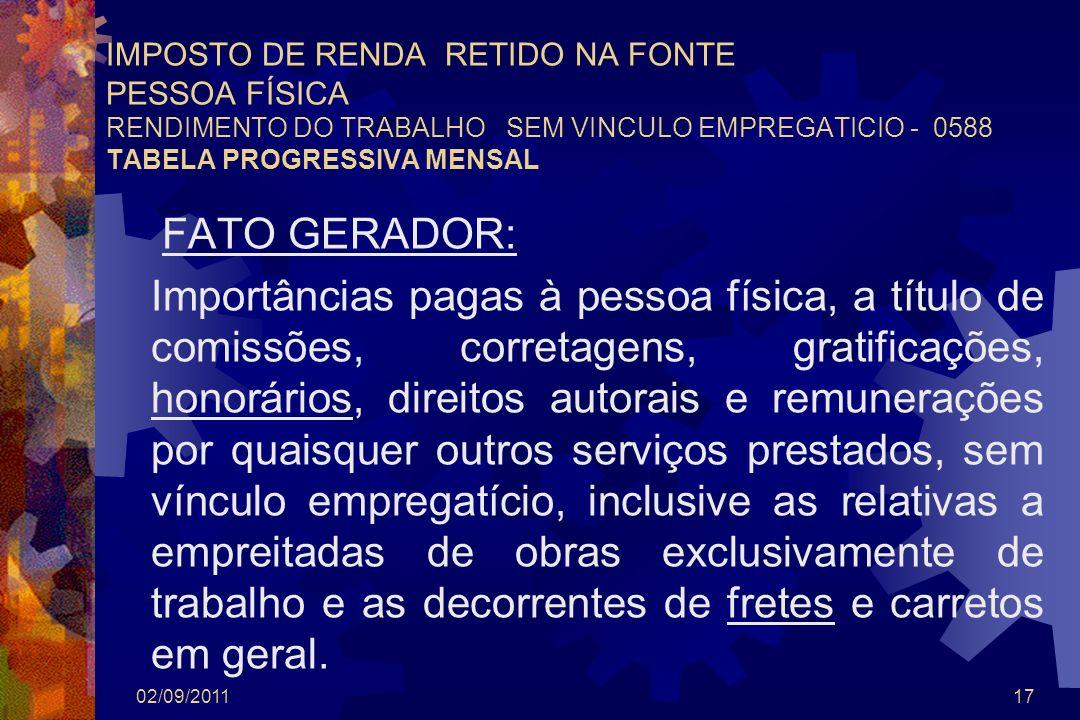 02/09/201117 IMPOSTO DE RENDA RETIDO NA FONTE PESSOA FÍSICA RENDIMENTO DO TRABALHO SEM VINCULO EMPREGATICIO - 0588 TABELA PROGRESSIVA MENSAL FATO GERA