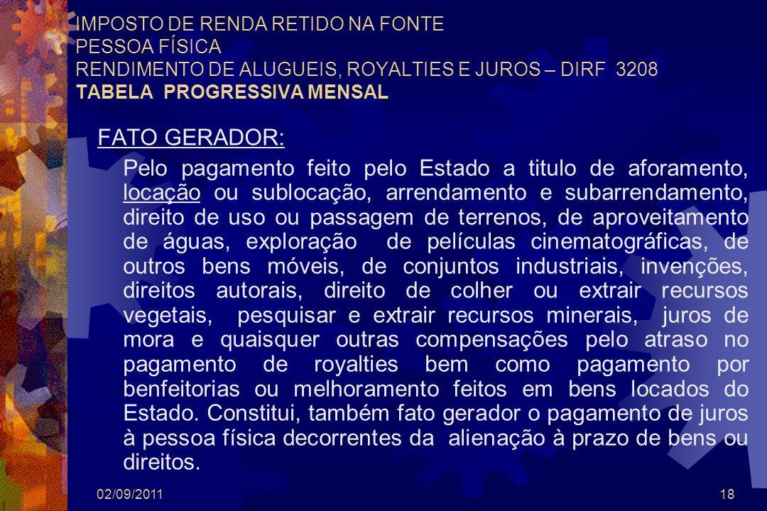 02/09/201118 IMPOSTO DE RENDA RETIDO NA FONTE PESSOA FÍSICA RENDIMENTO DE ALUGUEIS, ROYALTIES E JUROS – DIRF 3208 TABELA PROGRESSIVA MENSAL FATO GERAD